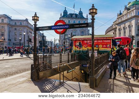 London, United Kingdom - March 21: This Is The Entrance To Piccadilly Underground Station In The Dow