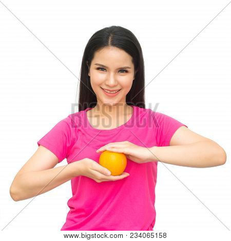 Health Girl Show Yellow Orange With Smile Face Isolated On White Background, Healthy Eating Food Con