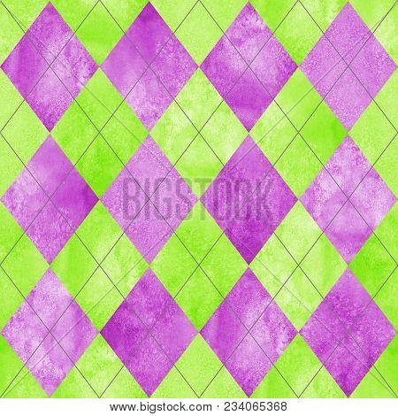 Argyle Seamless Plaid Pattern. Watercolor Hand Drawn Purple Lilac Magenta Lemon Green Texture Backgr
