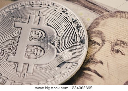 Bitcoin Crypto Currency, Digital Money In Japan Concept, Closed Up Shot Of Physical Coin With B Sign