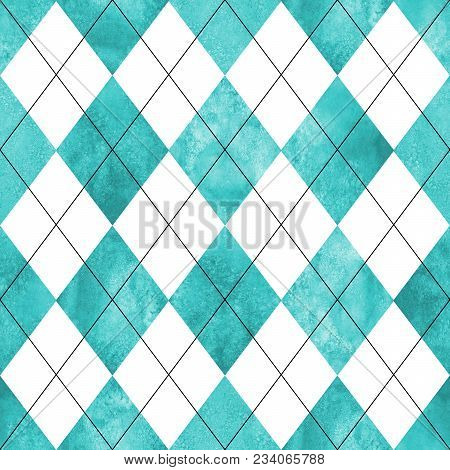 Argyle Seamless Plaid Pattern. Watercolor Hand Drawn White Teal Turquoise Texture Background. Waterc