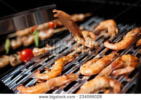 Whole Grilled Shrimps On Grill