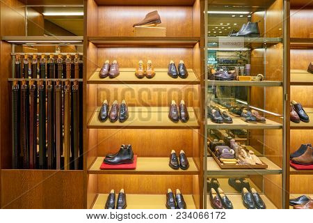 MILAN, ITALY - CIRCA NOVEMBER, 2017: shoes on display at Rinascente shopping center in Milan. Rinascente is a collection of high-end stores.