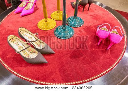 MILAN, ITALY - CIRCA NOVEMBER, 2017: Gucci shoes on display at Rinascente shopping center in Milan. Rinascente is a collection of high-end stores.