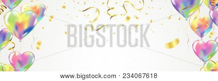 Heart Colorful Balloons Balloons And Confetti Carnival Festive Background. Vector Illustration. Holi