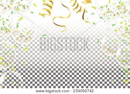 Balloons And Confetti Party Vector Illustration Of  Balloons Holiday White,  Holiday Balloons And Co