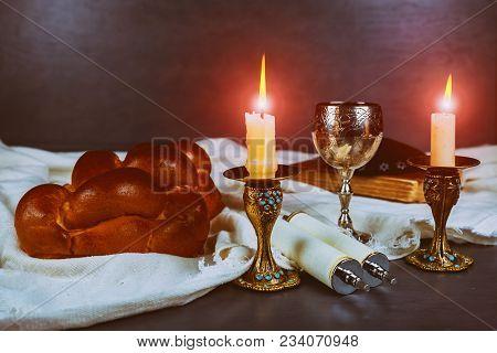 Shabbat Shalom - Traditional Jewish Sabbath Ritual Matzah, Bread,