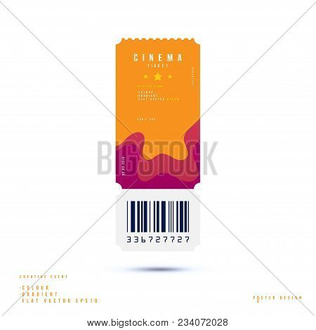 Cinema Ticket Realistic Isolated On White Background With Shadow. Flat Vector Illustration Eps 10