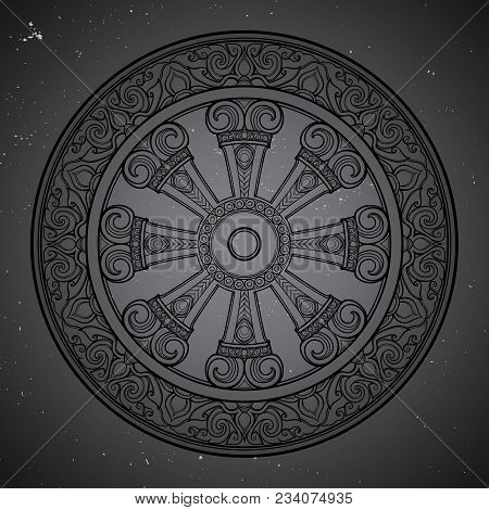 Dharma Wheel, Dharmachakra. Symbol of Buddha's teachings on the path to enlightenment, liberation from the karmic rebirth in samsara. Starry night sky textured background. EPS10 vector poster