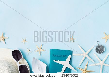 Summer Holidays, Vacation, Travel And Tourism Background From Sunglasses, Hat, Passport, Airplane An