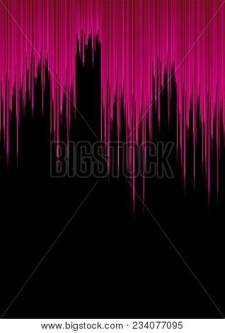 Pink Sound Waves On Black Background;in Concept Cool And Modern Background;high Frequency Of Sound