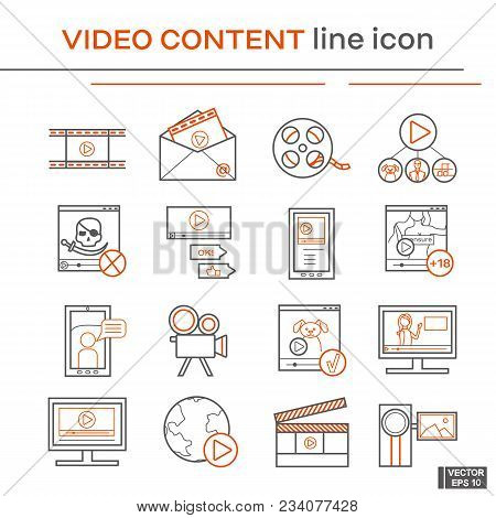 Vector Image. Set Of Line Icons On The Theme Of Video Content. Black And Red Outline Sign.