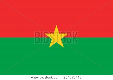 Flag Of Burkina Faso Official Colors And Proportions, Vector Image