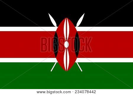 Flag Of Kenya Official Colors And Proportions, Vector Image