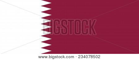 Flag Of Qatar Official Colors And Proportions, Vector Image