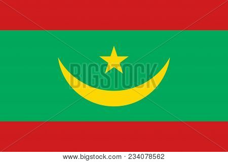 Flag Of Mauritania Official Colors And Proportions, Vector Image