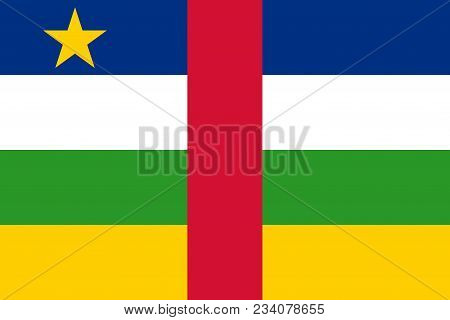 Flag Of Central African Republic Official Colors And Proportions, Vector Image