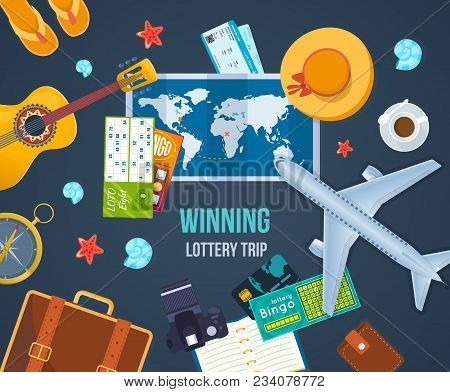 Winning Lottery Trip. Summer Travel The World. Air Travel By Plane, Journey, Vacation, Trip, Rest On