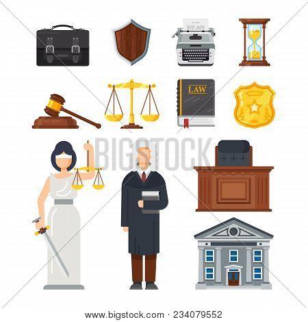 Concept Of The Judicial System. Judges Portfolio, Shield Security Guarantee, Printing Machine, Hourg