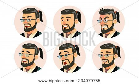 Boss Ceo Character Business People Avatar Vector. Modern Office Bearded Boss Man Face, Emotions Set.