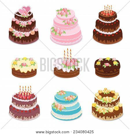 Vector Cakes Collection. Set Of Different Types Sweet Baked Cakes - Chocolate Cake, Birthday And Wed