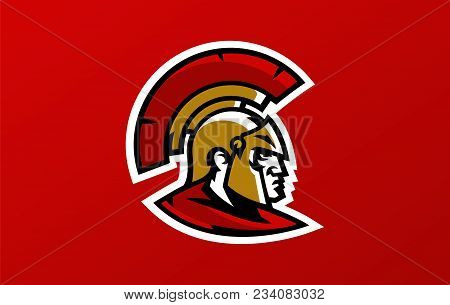 Colorful Head Logo Of The Spartan Warrior, Corinthian Helmet, Greek Soldier, Hoplite. Identity Sport