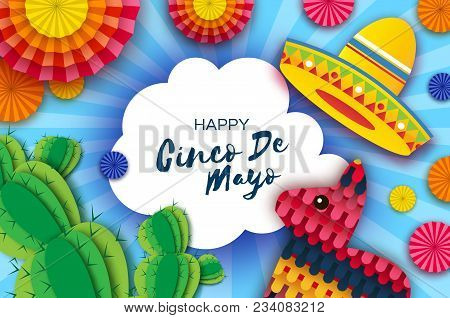 Happy Cinco De Mayo Greeting Card. Colorful Paper Fan, Funny Pinata And Cactus In Paper Cut Style. O