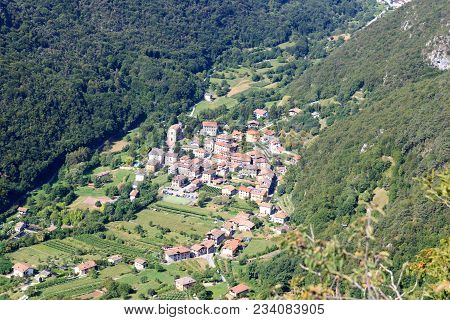Townscape Of Village Biacese With Mountain Panorama Near Lake Garda, Italy