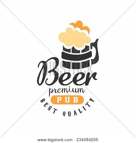 Creative Emblem With Mug Of Beer With Foam And Lettering. Alcoholic Beverage Theme. Typographic Logo