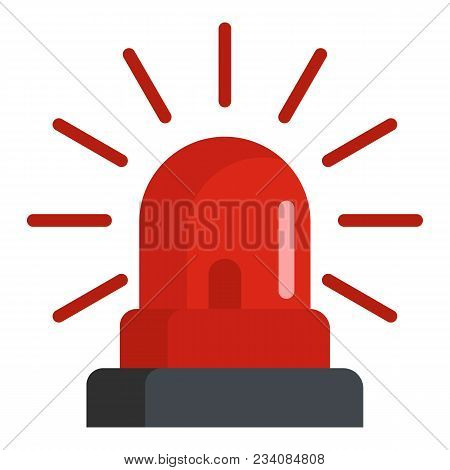 Caution Siren Icon. Flat Illustration Of Caution Siren Vector Icon For Web