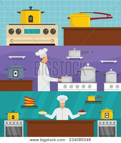 Cooker Chef Oven Stove Pan Banner Concept Set. Flat Illustration Of 3 Cooker Chef Oven Stove Pan Vec