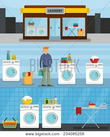 Laundry Service Banner Concept Set. Flat Illustration Of 3 Laundry Service Vector Banner Horizontal