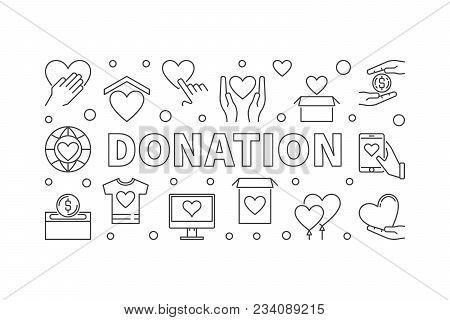 Donation Horizontal Illustration. Donating Money Vector Linear Concept Banner On White Background