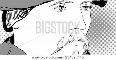 Man With Long Moustache. Portrait Of A Seigneur. Long Moustache. Portrait Of A Senor In A Beret. Han