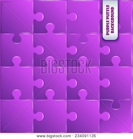 Violet Plastic Pieces Puzzle Game Complete Background