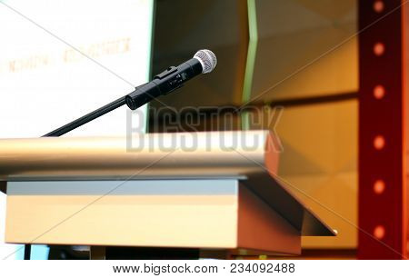 Microphone With Podium At Seminar On Stage