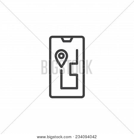 Navigation Device Outline Icon. Linear Style Sign For Mobile Concept And Web Design. Route On A Gps