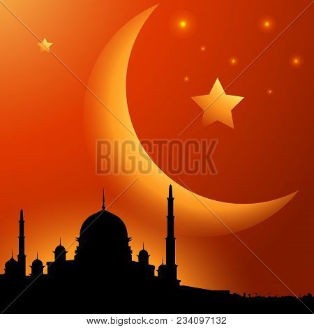 Mosque Sunset With Moon And Star, Islamic Background