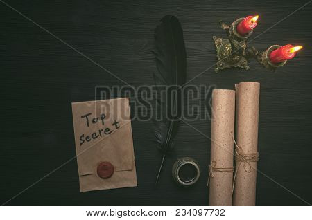Top Secret Message Document. Forbidden Information. Detective Agent Desk Table Concept Background. S