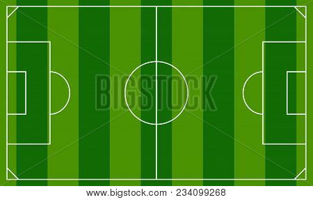 Soccer Field Or European Football Field Background Template. Top View Field Vector Illustration