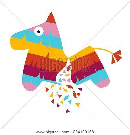 Fiesta Horse Broken Pinata Illustration For Kids Play Cartoon Vector Illustration Mexican Traditiona