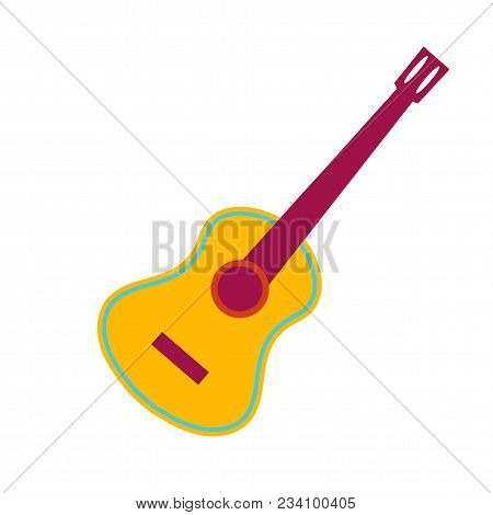 Acoustic Guitar Isolated Object Flat Cartoon Vector Illustration