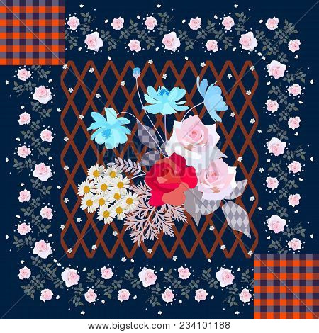 Greeting Card In Patchwork Style With Cute Bouquet Of Gardening Flowers And Floral Border. Tableclot