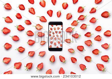 Strawberry Fresh Berries Picture In Smart Phone Isolated On White Background, Directed Strawberries