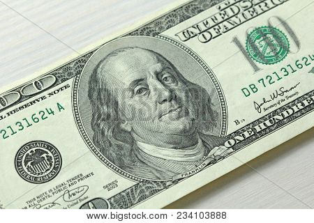 One Hundred Dollars With One Note. Paper Banknote.