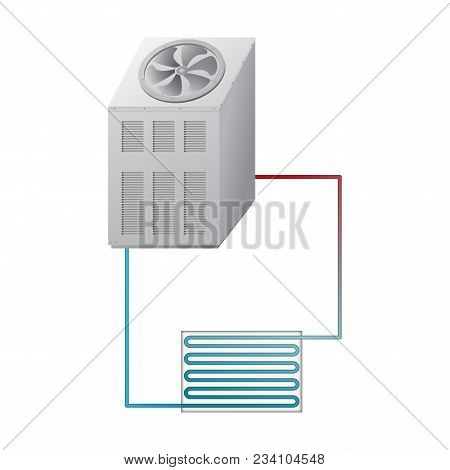 Outdoor And Indoor Unit Chiller. Equipment For Cooling And Heating Water. Hvac Vector Illustration.