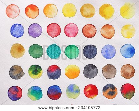 Bright Multicolored Circles Of Watercolors. Paper Background. Background For Decoration And Your Des