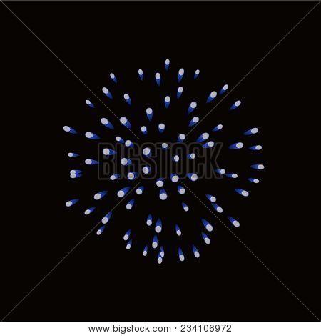 Beautiful Blue Firework. Bright Firework Isolated Black Background. Light Blue Decoration Firework F