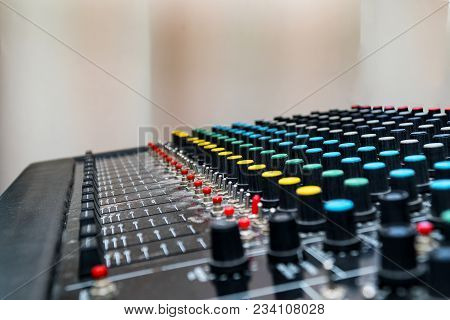 Mixing Console, Mixing Sound Board. Selective Focus. Sound Equipment