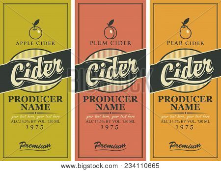 Vector Set Of Labels For Various Types Of Cider. Three Labels For A Cider In The Square Frame With A